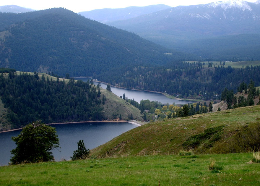 Ariel view of Conconllli Lake, located in Conconully WA, just 15 minutes from Omak!